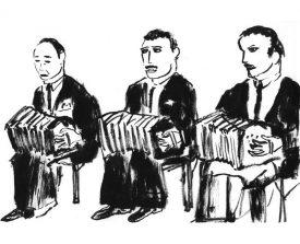 3 bandoneonisten . 1997 . inkt . 14x21