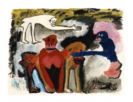 Apen in Artis . 1989 . 50x65