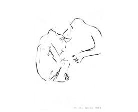 Apen in Artis . 1987 . krijt . 15x10