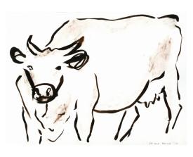 Koe, Frankrijk . 2010 . krijt . 22x30