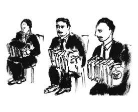 Drie bandoneonisten . 1997 . inkt . 15x21
