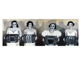 Vier bandoneonisten . 2011 . olie op paneel . 50x140