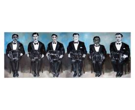 Zes bandoneonisten . 2011 . olie op paneel . 50x140