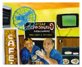 Buenos Aires café Saeta. 1998 . olie op linnen . 80x100