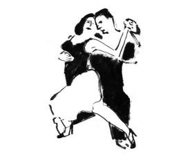Buenos Aires tangopaar . 2004 . inkt . 21x15