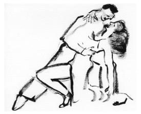 Buenos Aires tangopaar . 2005 . inkt . 21x15