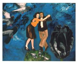Tangopaar met duiven en zwarte tulp . 2002 . olie op linnen . 110x140