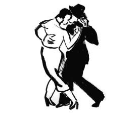 Buenos Aires tangopaar . ~2004 . inkt . 21x15